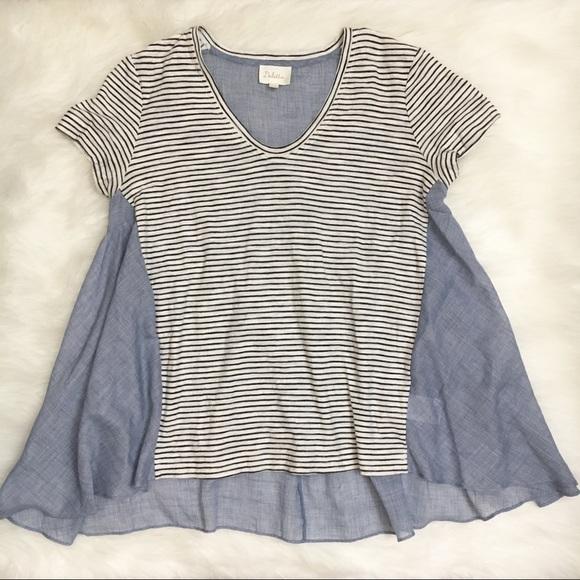 8266b742de1 Anthropologie Tops - Deletta Short Sleeve Oversized Striped Tunic Top